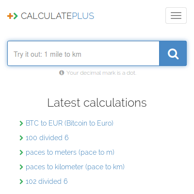 Calculate.plus +> Basic and free online calculations and conversions